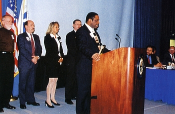 For more than a decade, the IAM has fought for better working conditions for Flight Attendants. Above, IAM Transportation GVP Robert Roach, Jr. testifies with IAM Flight Attendants and safety coordinators at a FAA hearing in 2000 in favor of extending OSHA protections to air cabin crews.