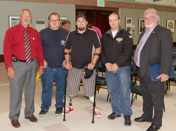 L to R: District 751 Business Rep Tommy Wilson, Robert Carver, Josh Divers, Andrew Dennis and Local A President Fergie Ferguson.
