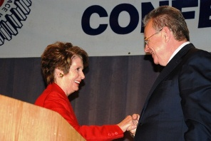 House Democratic Leader Nancy Pelosi (CA) congratulates retiring Headquarters General Vice President Rich Michalski after her speech at the 2013 IAM Legislative Conference.