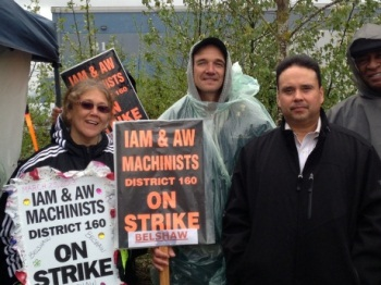 Western Territory General Vice President Gary Allen, right,  joined striking Local 79 members who are fighting for justice at Belshaw Adamatic Bakery Group in Auburn, WA.