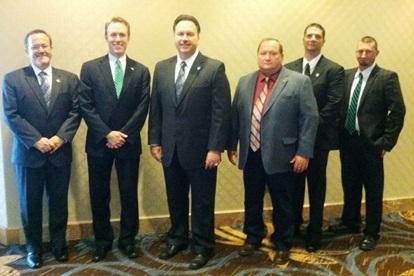 From left to right, Dennis Wright, OSCM Secretary-Treasurer; Ed Fitzgerald, Candidate for Ohio Governor; T. Dean Wright, Jr., OSCM President; Duane Lukens, OSCM Vice President; Neil Douglas, OSCM Legislative Agent and Nick Kent OSCM Vice President.