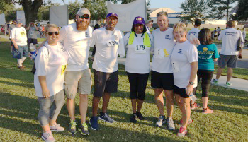 IAM members from District 75 and their spouses getting ready for the Airbus 5K run in Mobile, AL. From left: Kassie Kruse, Jonathan Kruse, Rickie Langford, Felicia Langford, Russell Acker and Sharon Acker.
