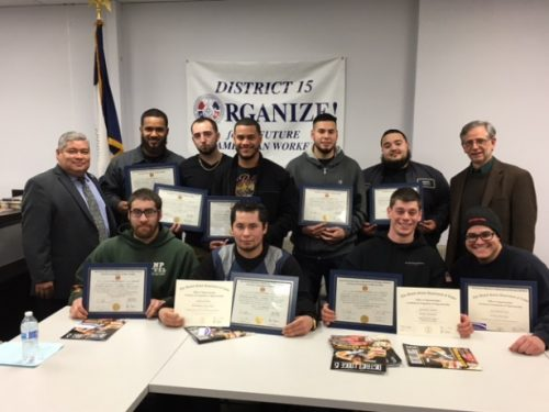 Nine Automotive and Diesel apprentices from the Youth Transition To Work Program in New Jersey, receive their journeyperson certificates.