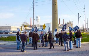 IAM District 54 members at Libbey Glass in Toledo, OH were on strike for two weeks before accepting a new, improved contract.