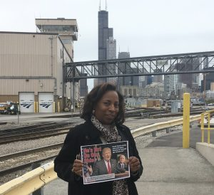 TCU's Teresa Booth Helping Distribute Fliers at Chicago's Amtrak Yards