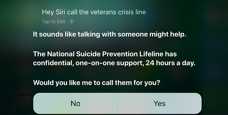 Smartphone feature provides immediate access to Veterans Crisis Line