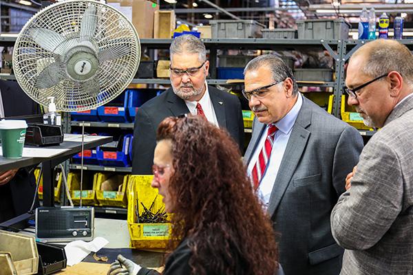 Martinez, Conigliaro Visit Massachusetts Members at Savage Arms