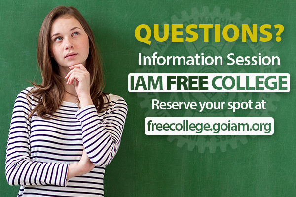 Register for Tonight's IAM Free College Online Information Session