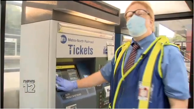 Metro North Station Ambassadors Disinfect Stations and Hand Out Masks