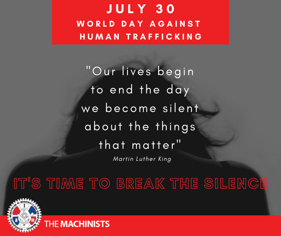 July 30th is World Day Against Trafficking in Persons