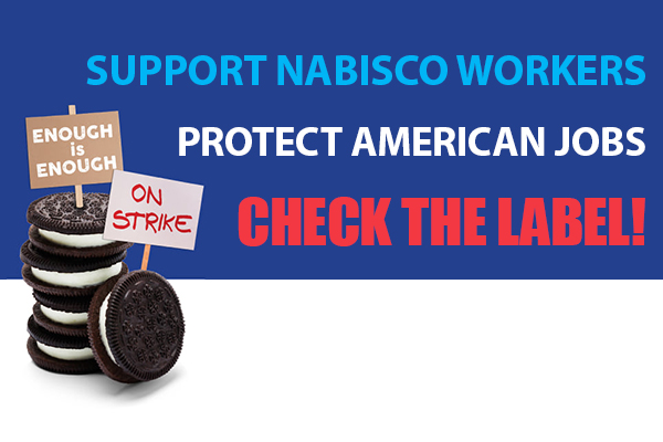Machinists Union Members Honoring Picket Line for Striking Nabisco Workers